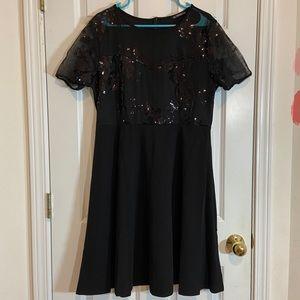 Black Floral Sequin Dress